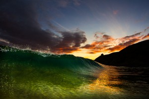 Sunset Cornish Wave print and canvas