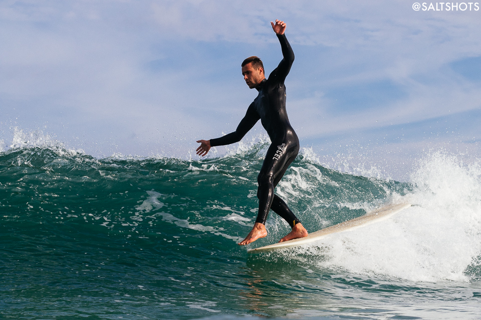josh daniel walking the board at godrevy