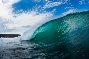 blue surfing wave in cornwall for wall art